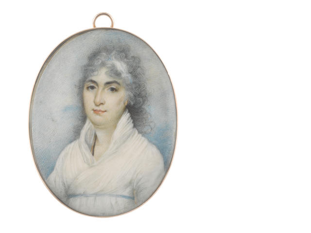 George Chinnery RHA (British, 1774-1852) A Lady, called Miss Fletcher, wearing white dress, narrow sky blue ribbon waistband, a black cord suspended from her neck, her powdered hair partially upswept and dressed with a white bandeau