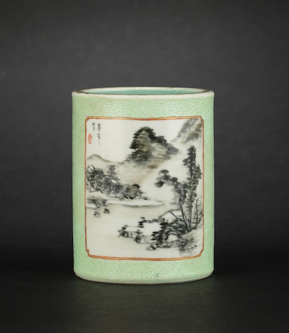A small, green ground cylindrical brushpot, bitong Qianlong six-character mark
