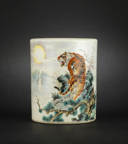 A polychrome enamel, circular brushpot, bitong Hongxian four-character mark