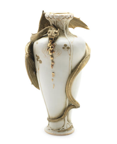 Amphora a Large Porcelain Vase with Applied Winged Beast, circa 1910
