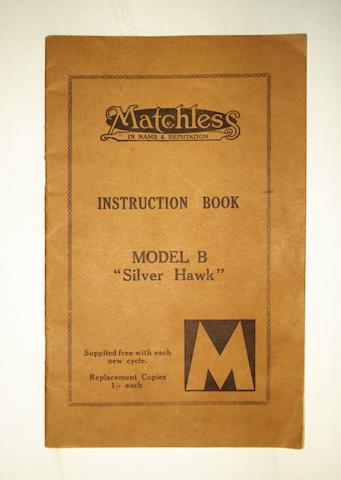 A Matchless Model B 'Silver Hawk' instruction book, 1930,