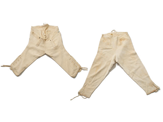 Two Pairs of Fall-front Buckskin Breeches