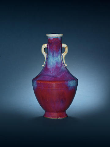 A fine and rare flambé-glazed vase, hu Incised Qianlong seal mark and of the period