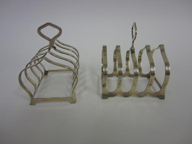 A silver pair of five division toast racks Birmingham 1940