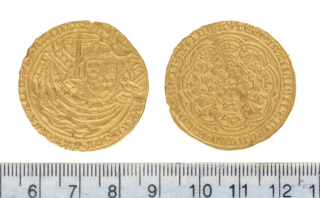 Edward III, fourth coinage (1351-77), pre-treaty period (1351-61), Noble, 7.71g, London, series G, king standing facing in ship, holding sword and shield,