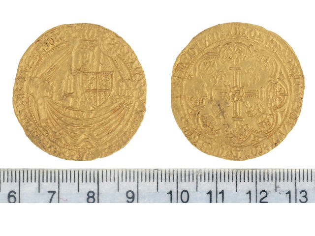 Richard II (1377-99), Noble, 7.74g, London, king standing in ship, holding sword and shield,