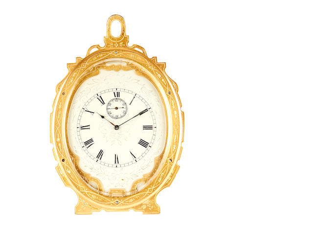 A late 19th century engraved brass Thomas Cole-style strut timepiece