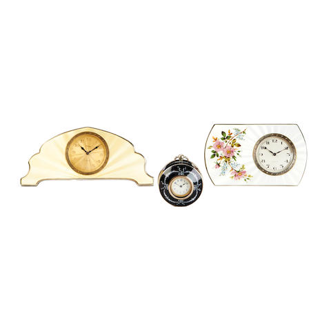 Three second quarter of the 20th century Swiss enamel-decorated boudoir timepieces  Asprey and others 3