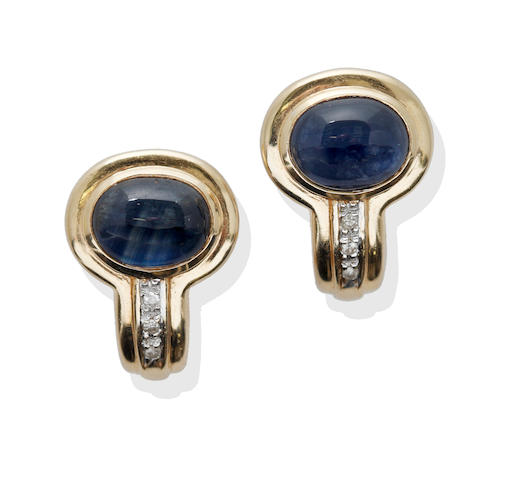 A pair of sapphire and diamond earstuds