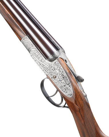 """A fine J.G. Salt-engraved 20-bore (2¾in) 'The """"Royal"""" Model' self-opening sidelock ejector gun by Holland & Holland, no. 41245 In its brass-mounted oak and leather case with canvas cover"""