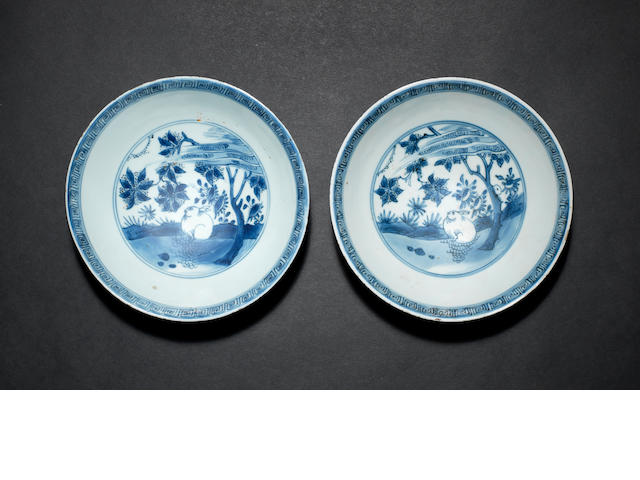 A pair of Chinese blue and white bowls Tianqi