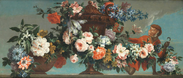Antoine Monnoyer (Paris 1670-1747 Saint-Germain-en-Laye) Hyacinths, roses, chrysanthemums and narcissi in a terracotta vase, with a monkey