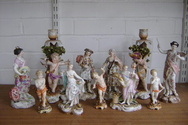 Pair Sitzendorf candlesticks and nine figurines