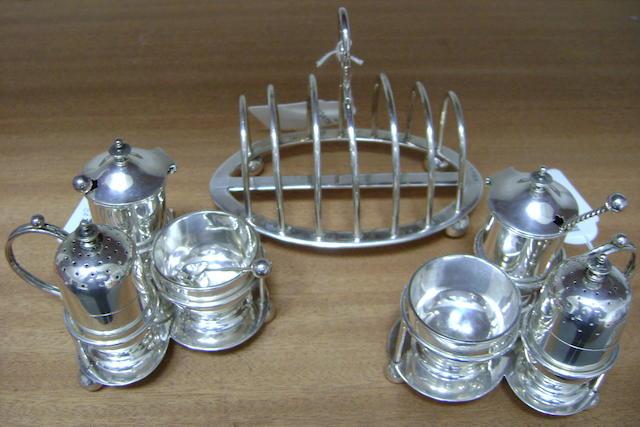 A pair of Victorian Triform silver cruets, 1896