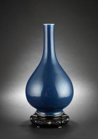 A powder blue monochrome, pear shaped vase Qianlong six-character mark