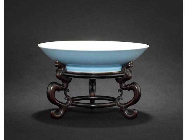A clair-de-lune monochrome saucer dish Yongzheng six-character mark