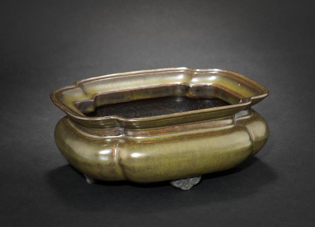 A tea-dust glazed rectangular bowl Qianlong six-character mark
