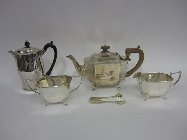 A silver three piece silver tea service  Sheffield 1938