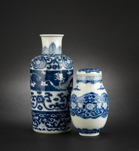 A blue and white, tapering cylindrical vase
