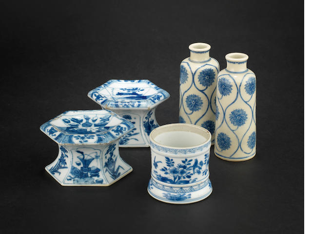 A pair of blue and white, hexagonal salts Qing Dynasty