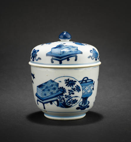 A blue and white bowl with cover Kangxi