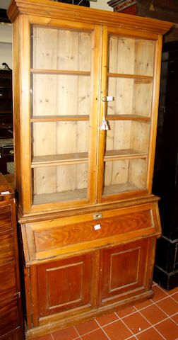An Edwardian pine bureau bookcase