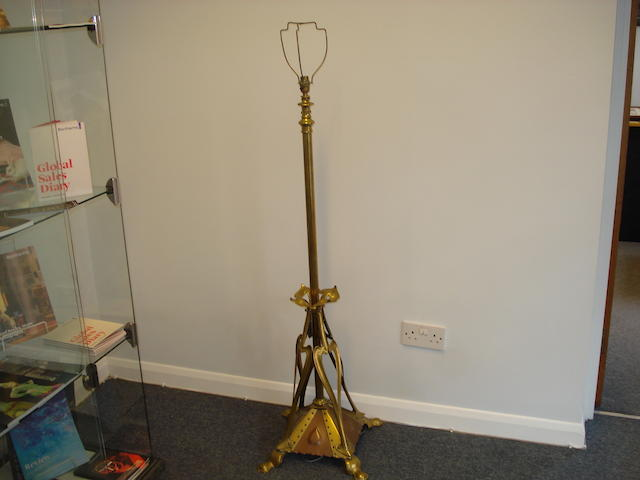 A late 19th Century brass and copper Art Nouveau standard lamp