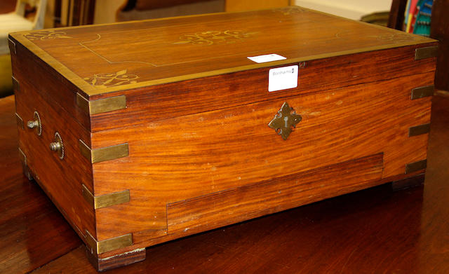A 20th Century Indian brass bound and inlaid hardwood work box,