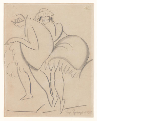 Boris Dmitrievich Grigoriev (Russian, 1886-1939) Drawing for two dancing ladies from Café Chantant, featured in the headpiece for Intimité, 1918