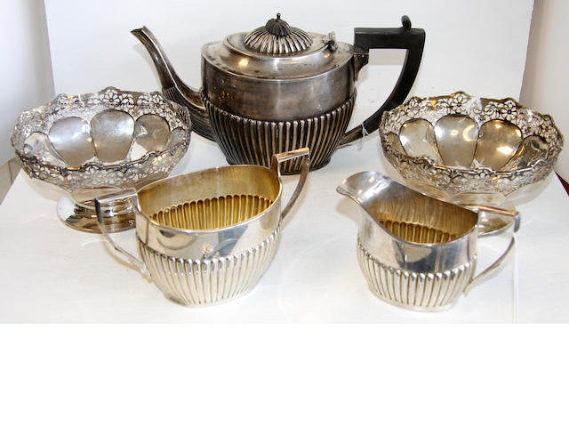 A three piece tea service,