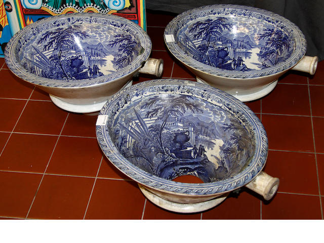 A set of three 19th Century blue and white toilet bowls,