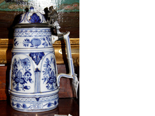 A German onion pattern blue and white stein,