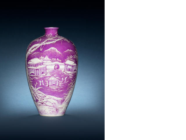 A pink and white enamelled baluster vase Cyclically dated wuyin year (AD1938), signed He Xuren, seal mark Xuren chupin