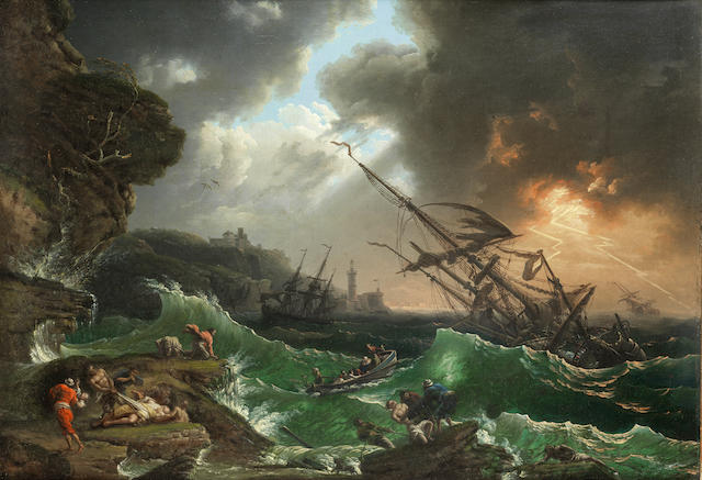 Follower of Claude Joseph Vernet (Avignon 1714-1789 Paris) Shipping foundering off a rocky coast