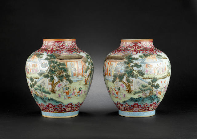 A pair of famille rose, 'hundred boys' vases Jiaqing red-enamelled six-character seal marks