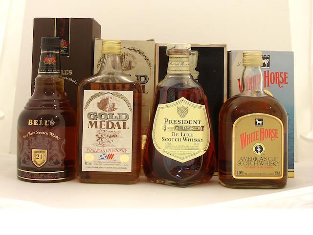 Bell's Royal Reserve-21 year old<BR /> Gold Medal<BR /> President Special Reserve<BR /> White Horse Americas Cup-1987