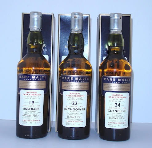 Rosebank-19 year old-1979  Inchgower-22 year old-1974  Clynelish-24 year old-1972