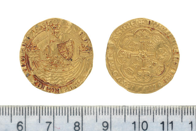 Edward III, fourth coinage (1351-77), treaty period (1361-69), Half-noble, 3.8g, London, king standing facing in ship, holding sword and shield, saltire before EDWARD, flag at stern of ship,