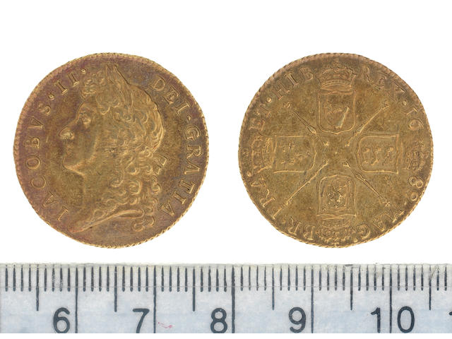 James II, Guinea, 1688, second laureate head left,