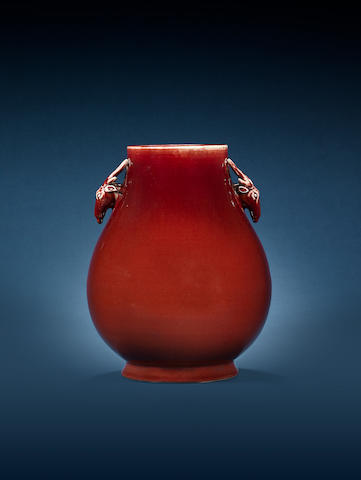 A sang-de-boeuf-glazed deer-handled vase, hu Incised Tongzhi six-character mark and of the period