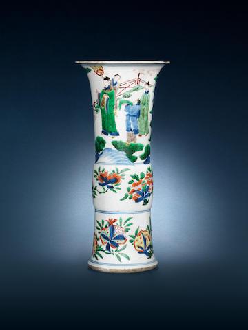 A wucai flaring vase, gu 17th century