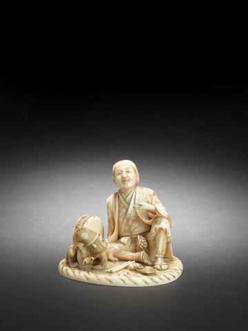 An ivory okimono of a sarumawashi (monkey trainer) By Yukihira, Meiji Period