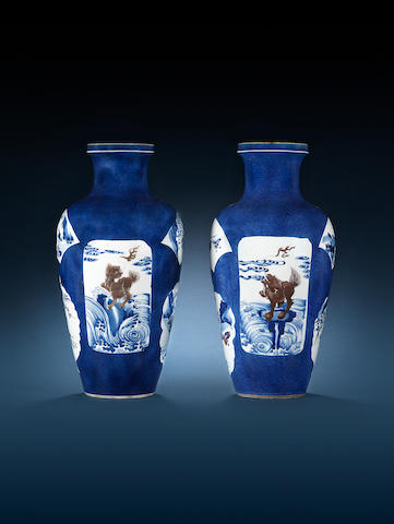 A pair of blue and white and underglaze-red vases Kangxi