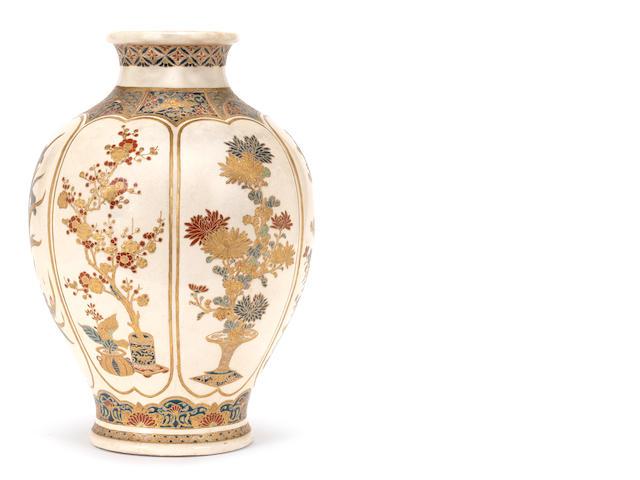 A Satsuma ovoid vase By Kyokozan, Meiji Period