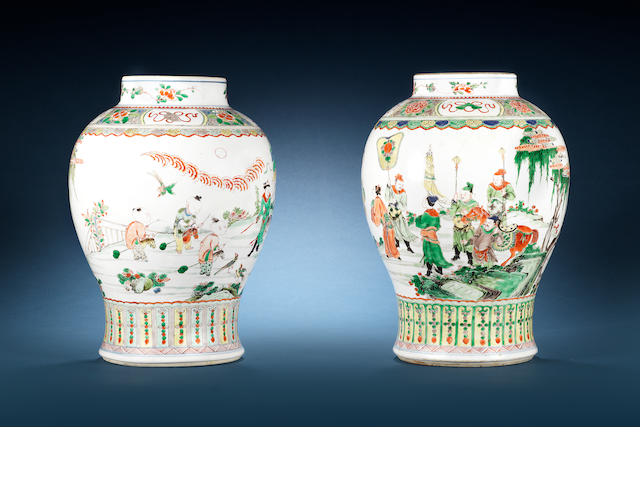Two famille verte baluster vases 18th century