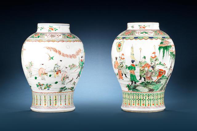 Two famille verte baluster vases 18th century