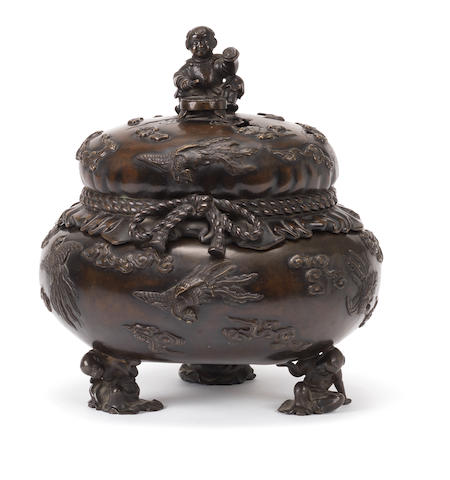 A bronze koro (incense burner) and cover By Yoshi, Meiji Period