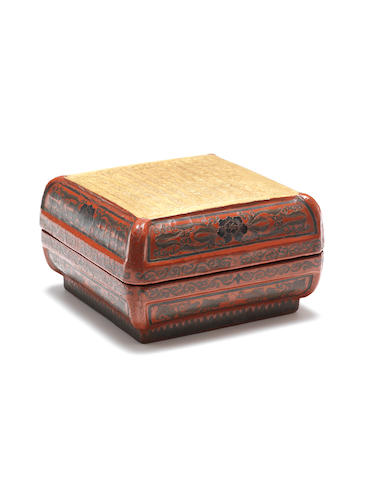 A gilt-decorated red and black lacquer square box and cover Qianlong six-character mark and of the period