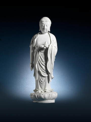 A very fine blanc-de-chine figure of Buddha Impressed He Chaozong yin four-character mark, circa 1640