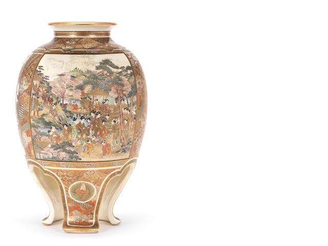 A Satsuma tripod vase By Okamoto Ryozan, Meiji Period